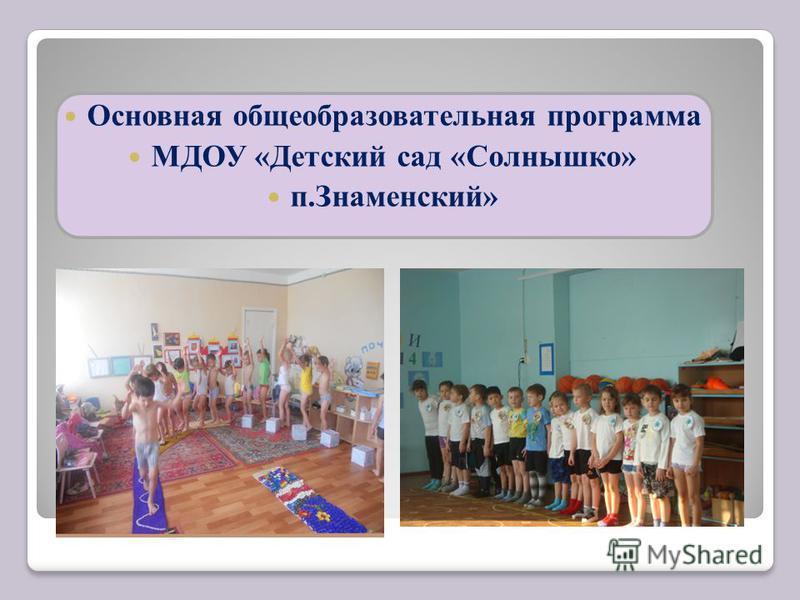 Основная общеобразовательная программа МДОУ «Детский сад «Солнышко» п.Знаменский»