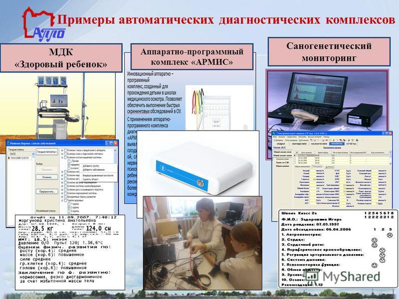 Примеры автоматических диагностических комплексов Саногенетический мониторинг Аппаратно-программный комплекс «АРМИС» МДК «Здоровый ребенок»