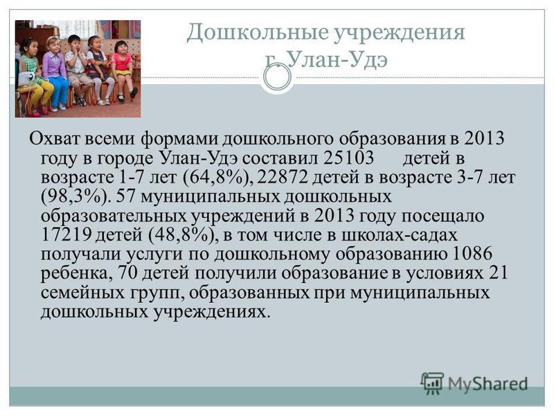 Дошкольные учреждения г. Улан-Удэ Охват всеми формами дошкольного образования в 2013 году в городе Улан-Удэ составил 25103 детей в возрасте 1-7 лет (64,8%), 22872 детей в возрасте 3-7 лет (98,3%). 57 муниципальных дошкольных образовательных учреждени