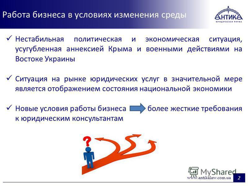 Работа бизнеса в условиях изменения среды 2 www.antikalaw.com.ua Нестабильная политическая и экономическая ситуация, усугубленная аннексией Крыма и военными действиями на Востоке Украины Ситуация на рынке юридических услуг в значительной мере являетс