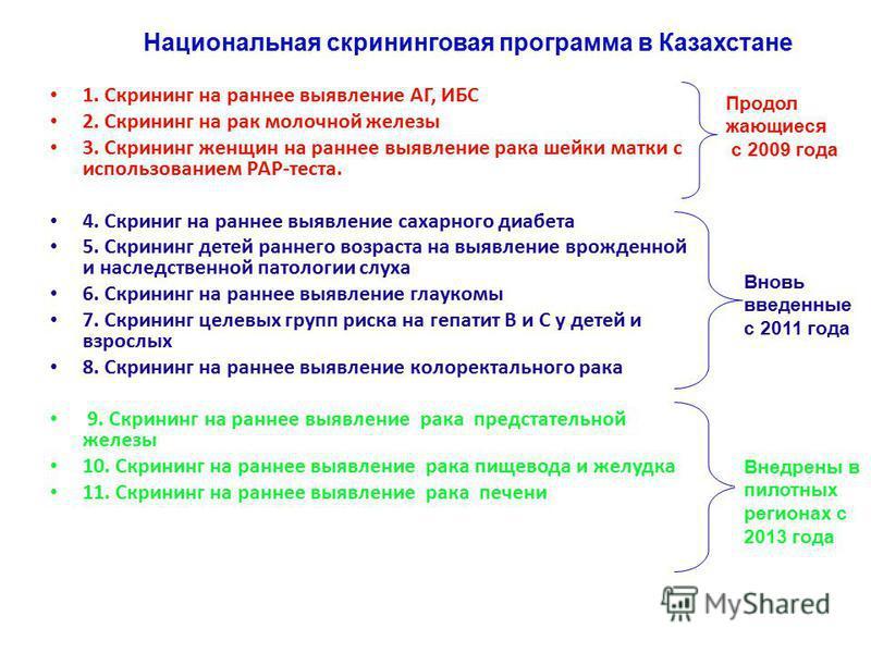 Национальная скрининговая программа в Казахстане 1. Скрининг на раннее выявление АГ, ИБС 2. Скрининг на рак молочной железы 3. Скрининг женщин на раннее выявление рака шейки матки с использованием РАР-теста. 4. Скриниг на раннее выявление сахарного д