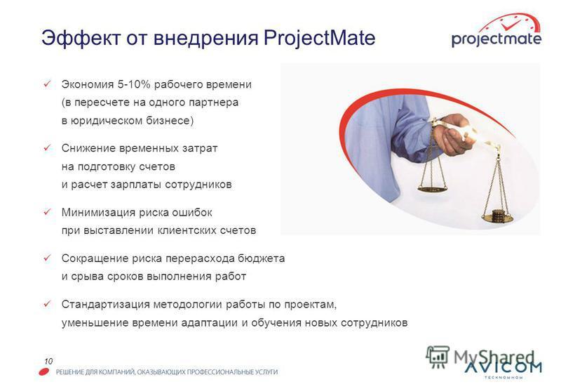 10 Эффект от внедрения ProjectMate Экономия 5-10% рабочего времени (в пересчете на одного партнера в юридическом бизнесе) Снижение временных затрат на подготовку счетов и расчет зарплаты сотрудников Минимизация риска ошибок при выставлении клиентских