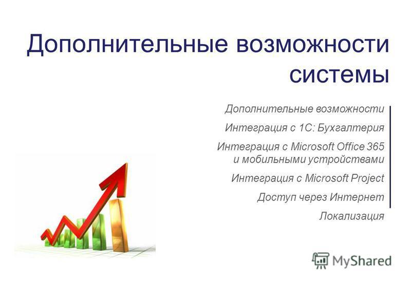Дополнительные возможности системы Дополнительные возможности Интеграция с 1С: Бухгалтерия Интеграция с Microsoft Office 365 и мобильными устройствами Интеграция с Microsoft Project Доступ через Интернет Локализация