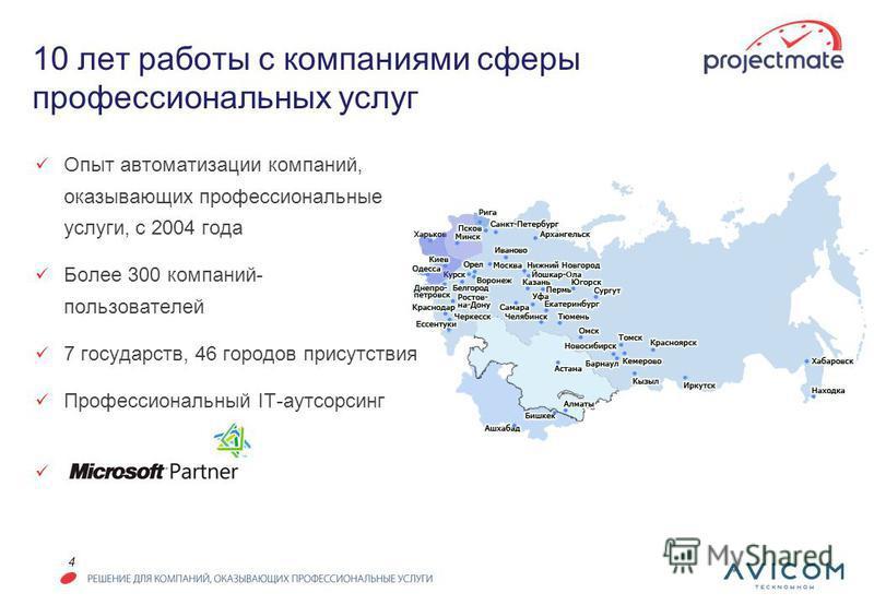4 10 лет работы с компаниями сферы профессиональных услуг Опыт автоматизации компаний, оказывающих профессиональные услуги, с 2004 года Более 300 компаний- пользователей 7 государств, 46 городов присутствия Профессиональный IT-аутсорсинг