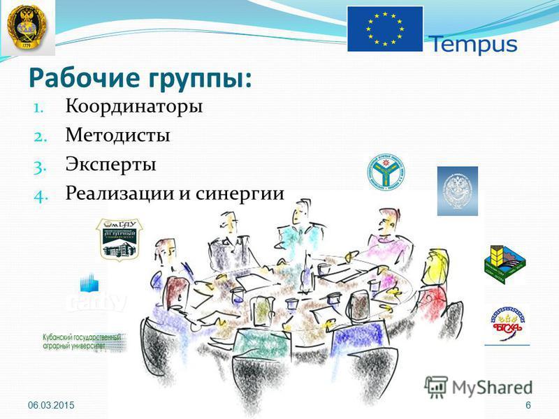 Рабочие группы: 1. Координаторы 2. Методисты 3. Эксперты 4. Реализации и синергии 06.03.20156
