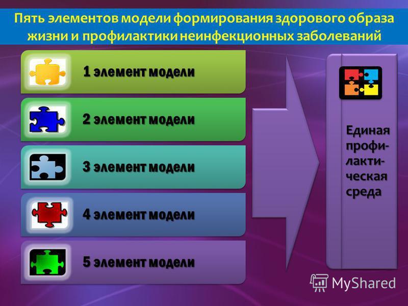 1 элемент модели 2 элемент модели 3 элемент модели 4 элемент модели 5 элемент модели Пять элементов модели формирования здорового образа жизни и профилактики неинфекционных заболеваний Единая профилактическая среда