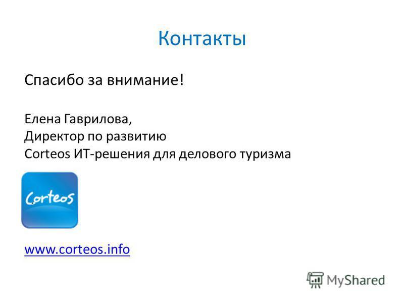 Контакты Спасибо за внимание! Елена Гаврилова, Директор по развитию Corteos ИТ-решения для делового туризма www.corteos.info