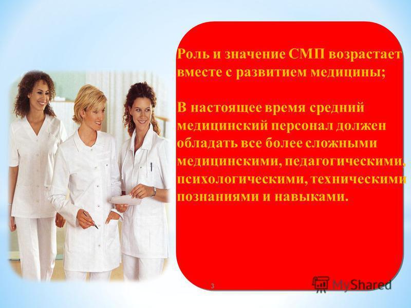 Роль и значение СМП возрастает вместе с развитием медицины; В настоящее время средний медицинский персонал должен обладать все более сложными медицинскими, педагогическими, психологическими, техническими познаниями и навыками. 3
