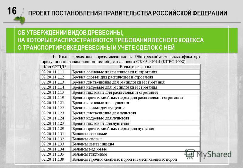 16 ПРОЕКТ ПОСТАНОВЛЕНИЯ ПРАВИТЕЛЬСТВА РОССИЙСКОЙ ФЕДЕРАЦИИ ОБ УТВЕРЖДЕНИИ ВИДОВ ДРЕВЕСИНЫ, НА КОТОРЫЕ РАСПРОСТРАНЯЮТСЯ ТРЕБОВАНИЯ ЛЕСНОГО КОДЕКСА О ТРАНСПОРТИРОВКЕ ДРЕВЕСИНЫ И УЧЕТЕ СДЕЛОК С НЕЙ