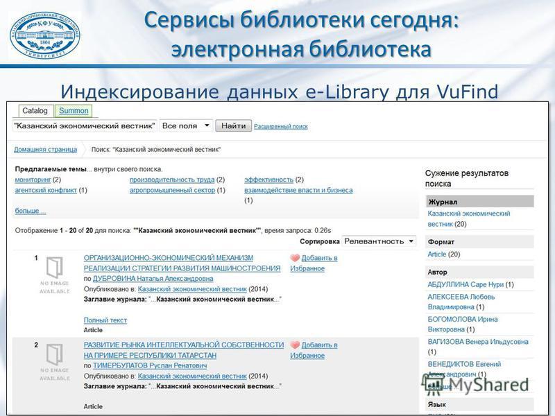 Сервисы библиотеки сегодня: электронная библиотека Индексирование данных e-Library для VuFind