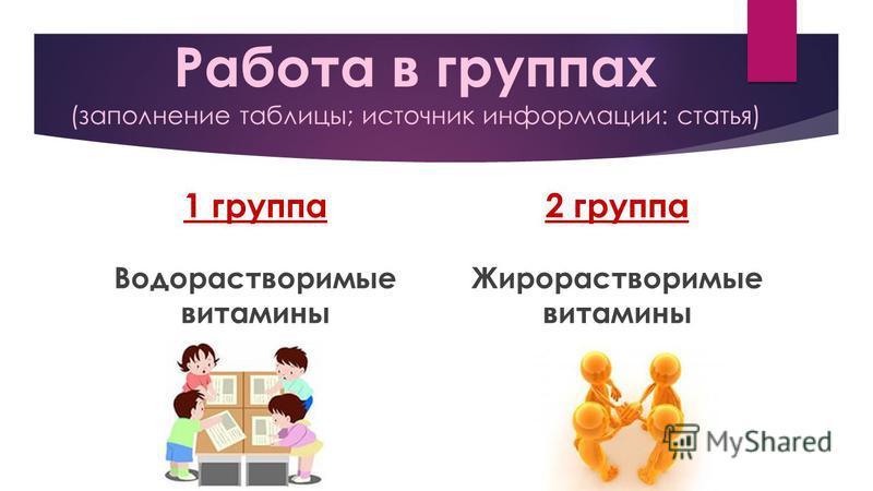 Работа в группах (заполнение таблицы; источник информации: статья) 1 группа Водорастворимые витамины 2 группа Жирорастворимые витамины