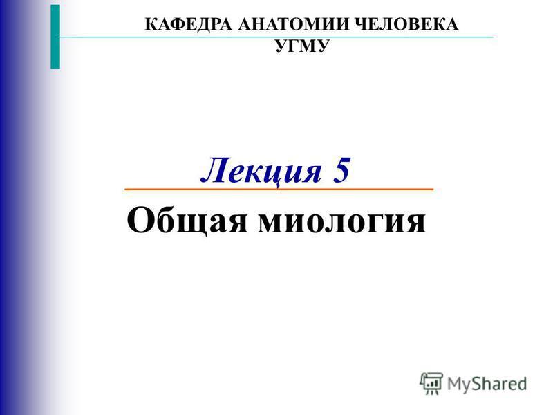 Лекция 5 Общая миология КАФЕДРА АНАТОМИИ ЧЕЛОВЕКА УГМУ