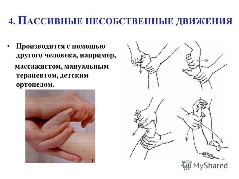 4. П АССИВНЫЕ НЕСОБСТВЕННЫЕ ДВИЖЕНИЯ Производятся с помощью другого человека, например, массажистом, мануальным терапевтом, детским ортопедом.