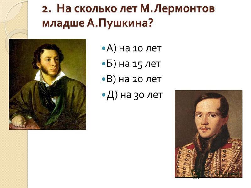 2. На сколько лет М. Лермонтов младше А. Пушкина ? А ) на 10 лет Б ) на 15 лет В ) на 20 лет Д ) на 30 лет