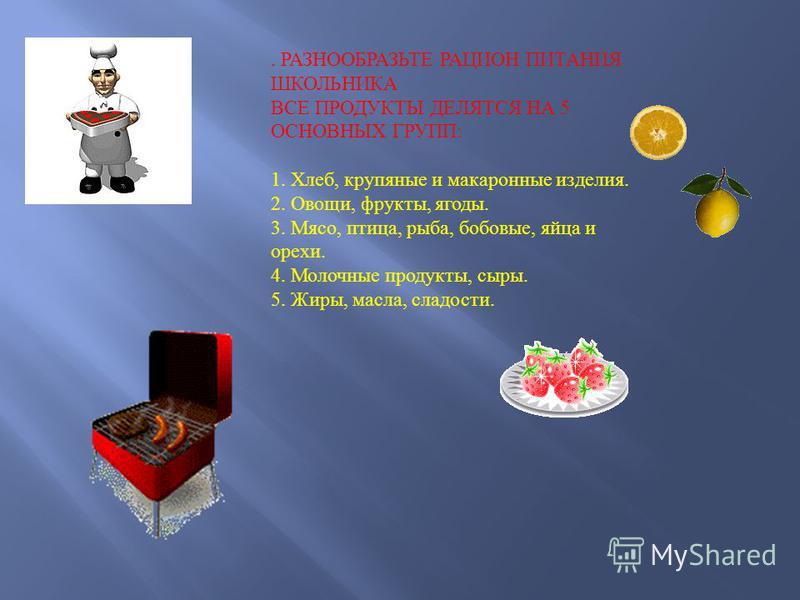 . РАЗНООБРАЗЬТЕ РАЦИОН ПИТАНИЯ ШКОЛЬНИКА ВСЕ ПРОДУКТЫ ДЕЛЯТСЯ НА 5 ОСНОВНЫХ ГРУПП : 1. Хлеб, крупяные и макаронные изделия. 2. Овощи, фрукты, ягоды. 3. Мясо, птица, рыба, бобовые, яйца и орехи. 4. Молочные продукты, сыры. 5. Жиры, масла, сладости.