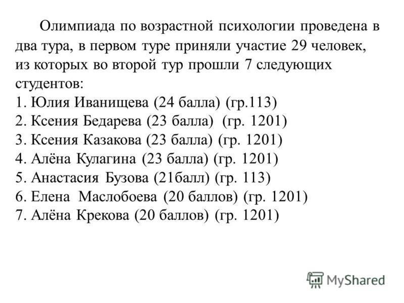 Олимпиада по возрастной психологии проведена в два тура, в первом туре приняли участие 29 человек, из которых во второй тур прошли 7 следующих студентов: 1. Юлия Иванищева (24 балла) (гр.113) 2. Ксения Бедарева (23 балла) (гр. 1201) 3. Ксения Казаков