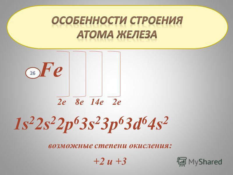 Fe 2 е 8 е 14 е 2 е 1s 2 2s 2 2 р 6 3s 2 3 р 6 3d 6 4s 2 возможные степени окисления: +2 и +3