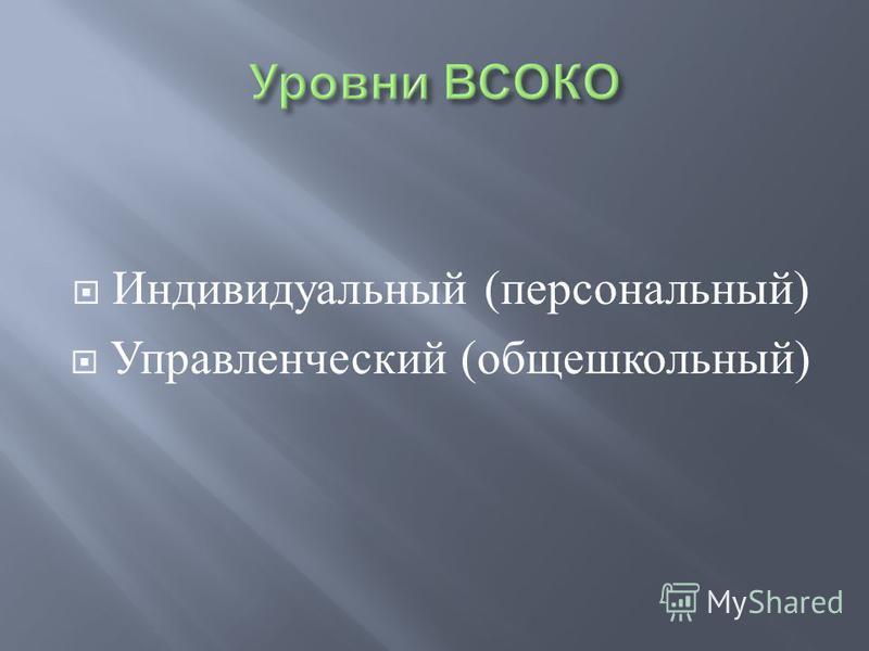 Индивидуальный ( персональный ) Управленческий ( общешкольный )