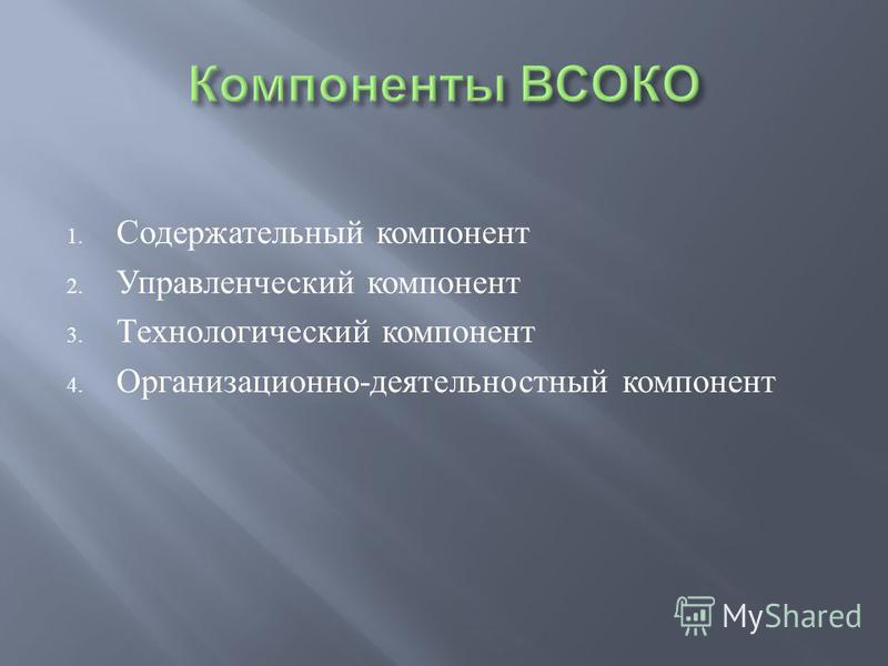 1. Содержательный компонент 2. Управленческий компонент 3. Технологический компонент 4. Организационно - деятельностный компонент