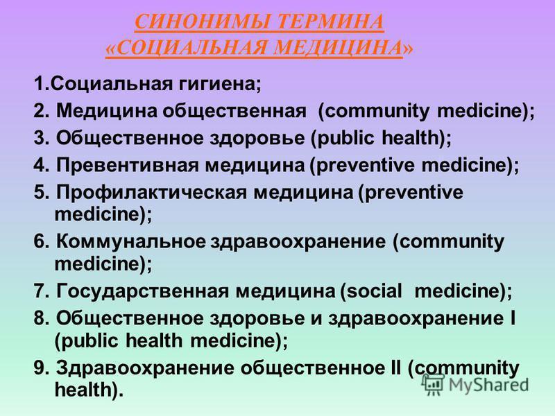 СИНОНИМЫ ТЕРМИНА «СОЦИАЛЬНАЯ МЕДИЦИНА» 1. Социальная гигиена; 2. Медицина общественная (community medicine); 3. Общественное здоровье (public health); 4. Превентивная медицина (preventive medicine); 5. Профилактическая медицина (preventive medicine);