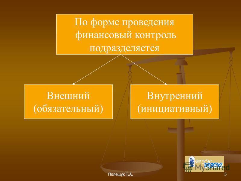 Полещук Т.А.5 По форме проведения финансовый контроль подразделяется Внешний (обязательный) Внутренний (инициативный)
