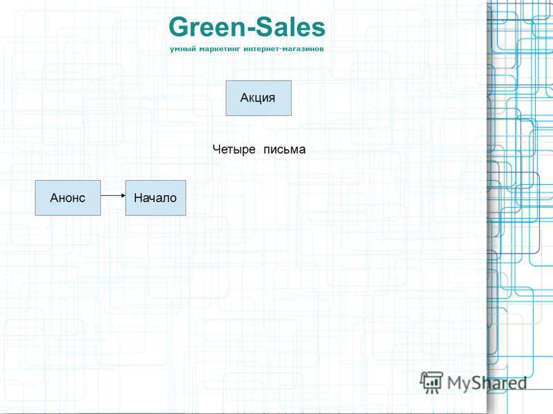 Green-Sales умный маркетинг интернет-магазинов Акция Четыре письма Анонс Начало