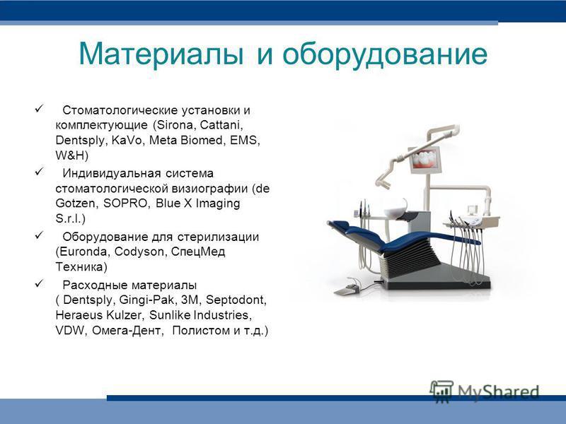 Материалы и оборудование Стоматологические установки и комплектующие (Sirona, Cattani, Dentsply, KaVo, Meta Biomed, EMS, W&H) Индивидуальная система стоматологической визиографии (de Gotzen, SOPRO, Blue X Imaging S.r.l.) Оборудование для стерилизации