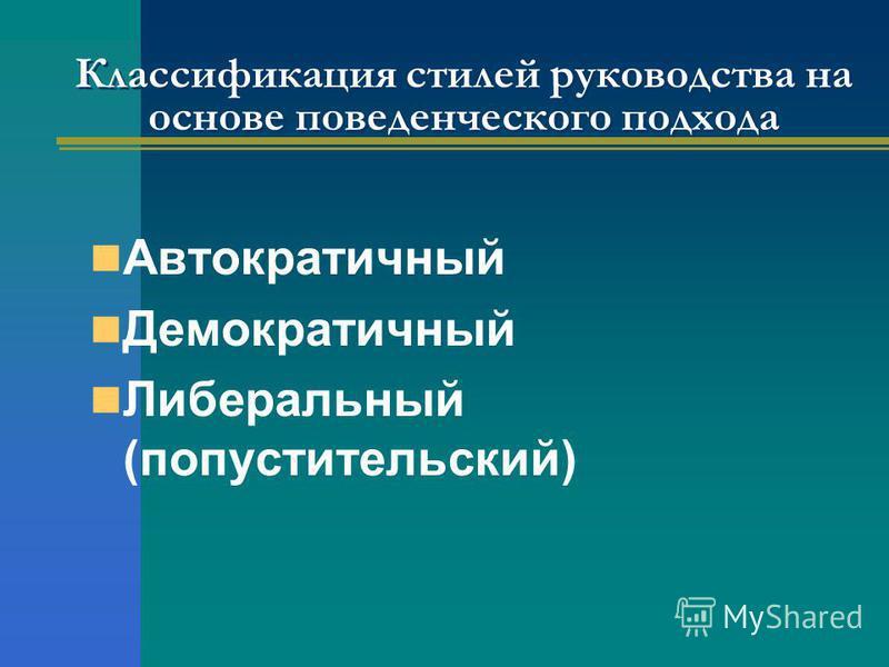 Классификация стилей руководства на основе поведенческого подхода Автократичный Демократичный Либеральный (попустительский)