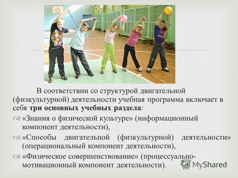 В соответствии со структурой двигательной ( физкультурной ) деятельности учебная программа включает в себя три основных учебных раздела : « Знания о физической культуре » ( информационный компонент деятельности ), « Способы двигательной ( физкультурн