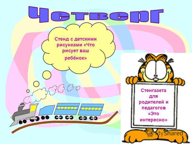 Стенд с детскими рисунками «Что рисует ваш ребёнок» Стенгазета для родителей и педагогов «Это интересно»
