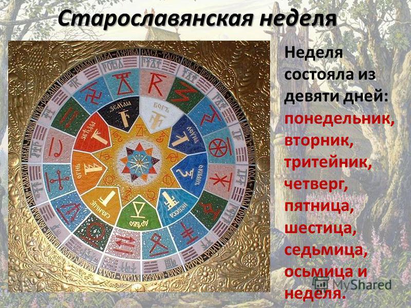 Неделя состояла из девяти дней: понедельник, вторник, тритейник, четверг, пятница, шестица, седьмица, осьмица и неделя. Старославянская неделя