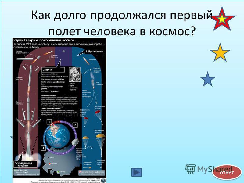 Как долго продолжался первый полет человека в космос? ответ