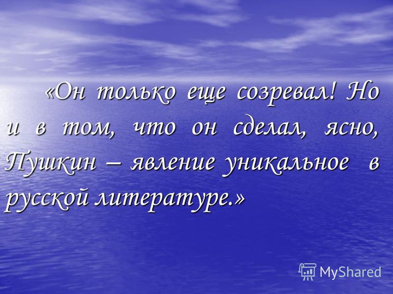 «Он только еще созревал! Но и в том, что он сделал, ясно, Пушкин – явление уникальное в русской литературе.»