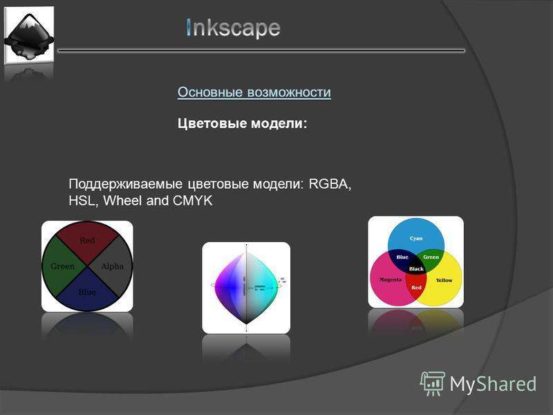 Поддерживаемые цветовые модели: RGBA, HSL, Wheel and CMYK Цветовые модели: