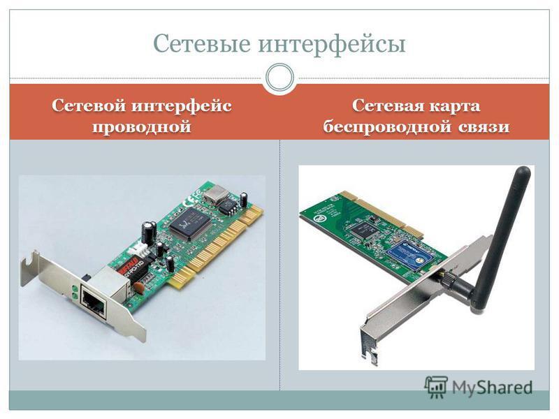 Сетевой интерфейс проводной Сетевая карта беспроводной связи Сетевые интерфейсы