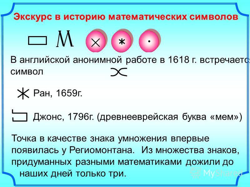 Экскурс в историю математических символов Среди многочисленных обозначений умножения употреблялся прямоугольник, как символ того, что площадь его получается при перемножении двух измерений. В связи с этим вплоть до XVII века вместо «произведение» гов