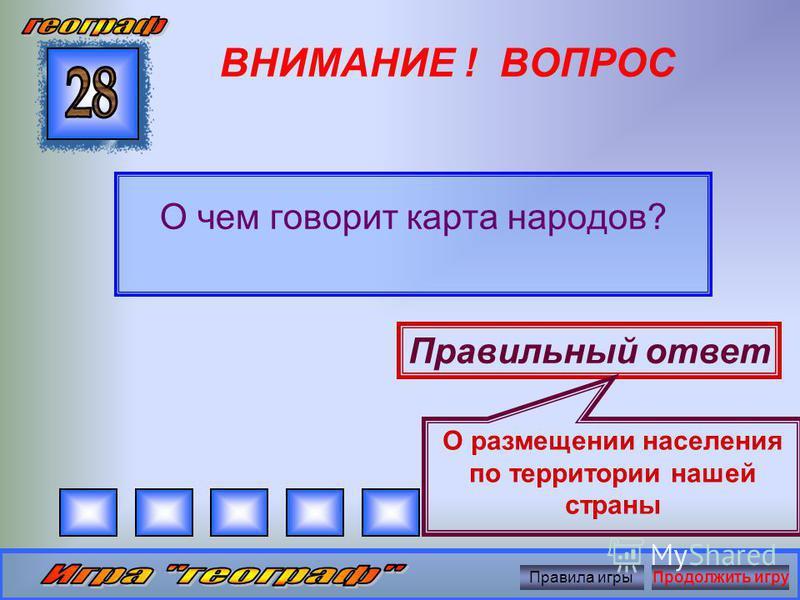 ВНИМАНИЕ ! ВОПРОС Назовите вторые по высоте горы России Правильный ответ Алтай Правила игры Продолжить игру