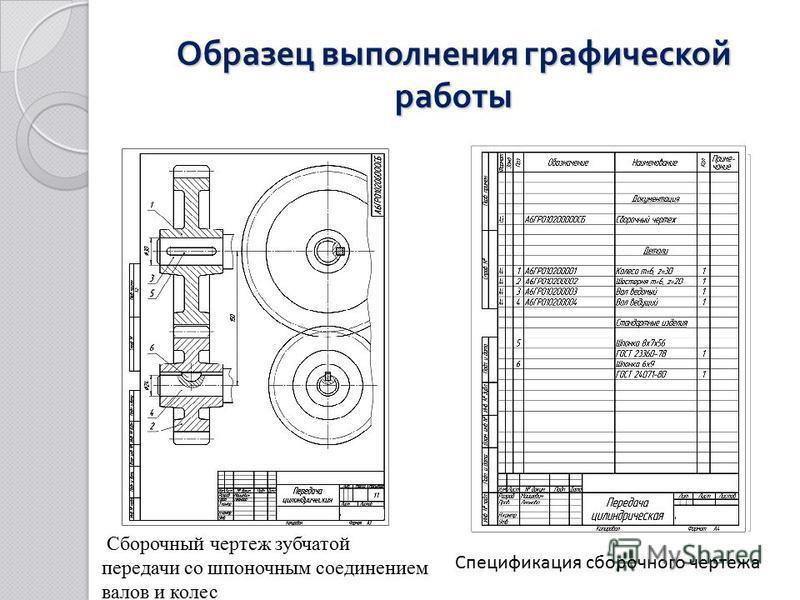 Образец выполнения графической работы Сборочный чертеж зубчатой передачи со шпоночным соединением валов и колес Спецификация сборочного чертежа
