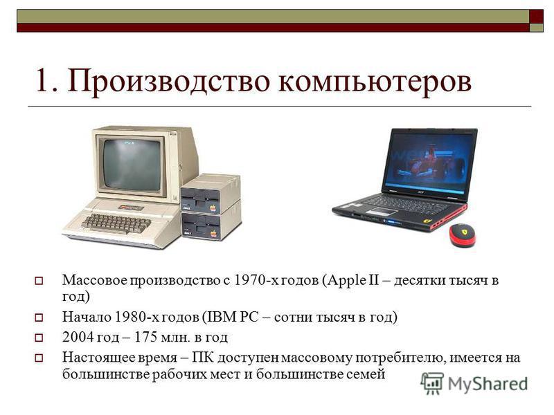 1. Производство компьютеров Массовое производство с 1970-х годов (Apple II – десятки тысяч в год) Начало 1980-х годов (IBM PC – сотни тысяч в год) 2004 год – 175 млн. в год Настоящее время – ПК доступен массовому потребителю, имеется на большинстве р