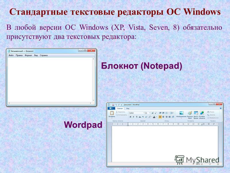 Стандартные текстовые редакторы ОС Windows Блокнот (Notepad) Wordpad В любой версии ОС Windows (XP, Vista, Seven, 8) обязательно присутствуют два текстовых редактора: