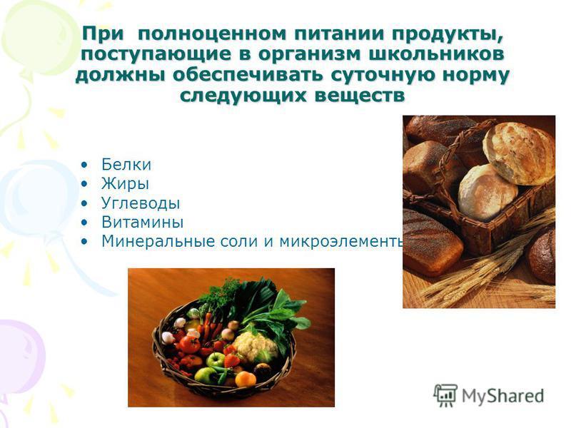При полноценном питании продукты, поступающие в организм школьников должны обеспечивать суточную норму следующих веществ Белки Жиры Углеводы Витамины Минеральные соли и микроэлементы