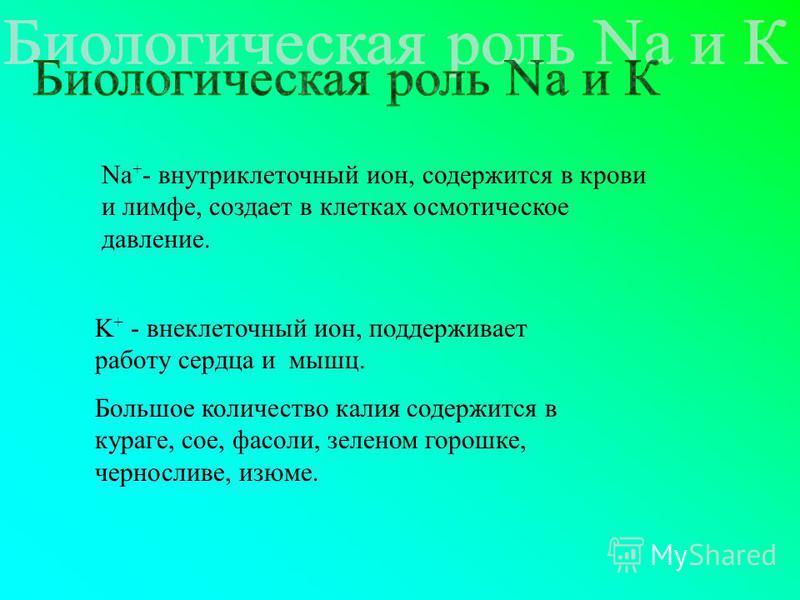 Na + - внутриклеточный ион, содержится в крови и лимфе, создает в клетках осмотическое давление. K+ K+ - внеклеточный ион, поддерживает работу сердца и мышц. Большое количество калия содержится в кураге, сое, фасоли, зеленом горошке, черносливе, изюм