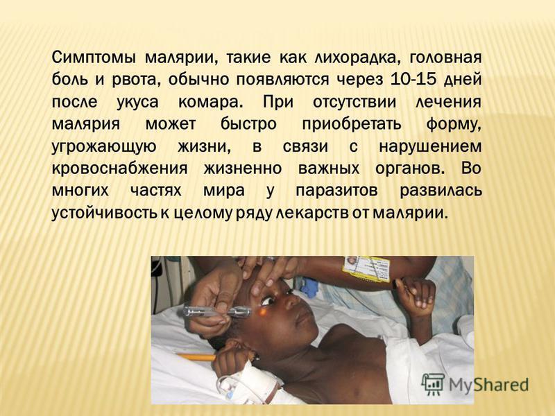 Симптомы малярии, такие как лихорадка, головная боль и рвота, обычно появляются через 10-15 дней после укуса комара. При отсутствии лечения малярия может быстро приобретать форму, угрожающую жизни, в связи с нарушением кровоснабжения жизненно важных