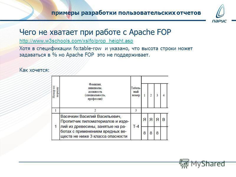 Чего не хватает при работе с Apache FOP http://www.w3schools.com/xslfo/prop_height.asp Хотя в спецификации fo:table-row и указано, что высота строки может задаваться в % но Apache FOP это не поддерживает. Как хочется: примеры разработки пользовательс