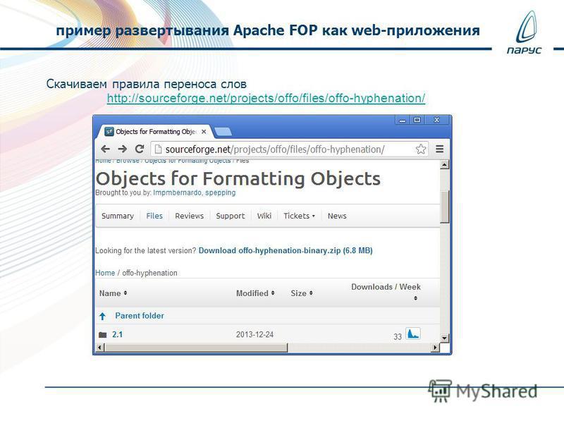 Скачиваем правила переноса слов http://sourceforge.net/projects/offo/files/offo-hyphenation/ пример развертывания Apache FOP как web-приложения