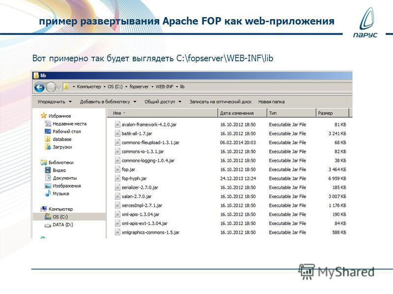 Вот примерно так будет выглядеть C:\fopserver\WEB-INF\lib пример развертывания Apache FOP как web-приложения