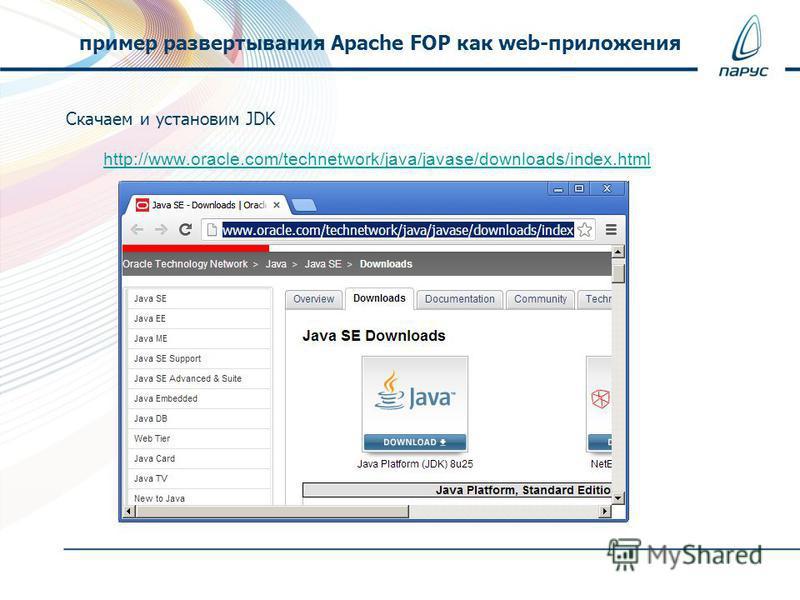 Скачаем и установим JDK http://www.oracle.com/technetwork/java/javase/downloads/index.html пример развертывания Apache FOP как web-приложения