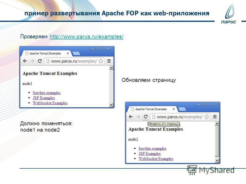 Проверяем http://www.parus.ru/examples/ http://www.parus.ru/examples/ Обновляем страницу Должно поменяться: node1 на node2 пример развертывания Apache FOP как web-приложения