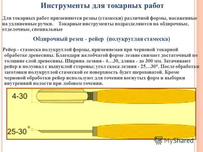 Инструменты для токарных работ Для токарных работ применяются резцы (стамески) различной формы, насаженные на удлиненные ручки. Токарные инструменты подразделяются на обдирочные, отделочные, специальные Обдирочный резец - рейдер (полукруглая стамеска