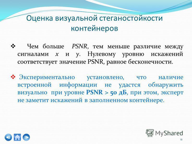 11 Чем больше PSNR, тем меньше различие между сигналами x и y. Нулевому уровню искажений соответствует значение PSNR, равное бесконечности. Экспериментально установлено, что наличие встроенной информации не удастся обнаружить визуально при уровне PSN